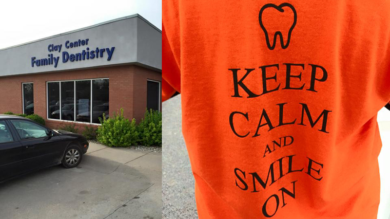 """Two images, Clay Center Family Dental Care practice on the left and an orange """"keep calm and smile on"""" t-shirt on the right"""
