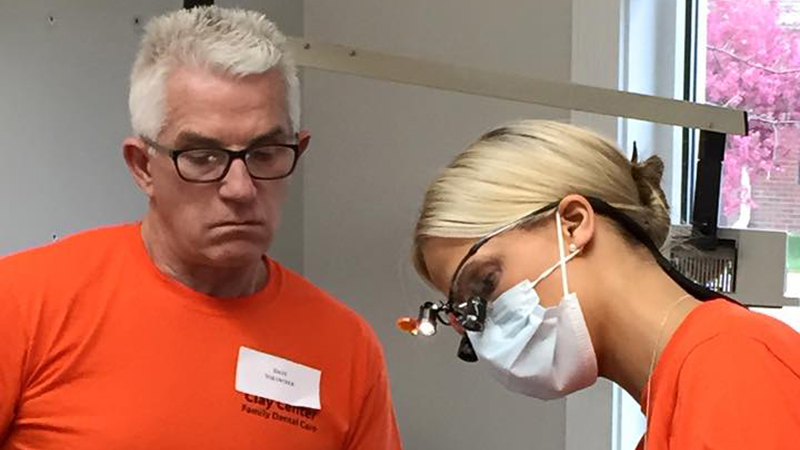 Dr Harness and team member on Clay Center Family Dental Care Dental Mission day